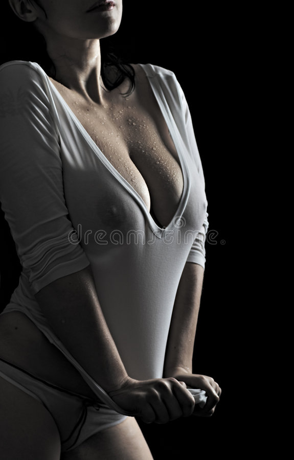 Download Woman in wet tanktop stock photo. Image of person, abdomen - 7480888