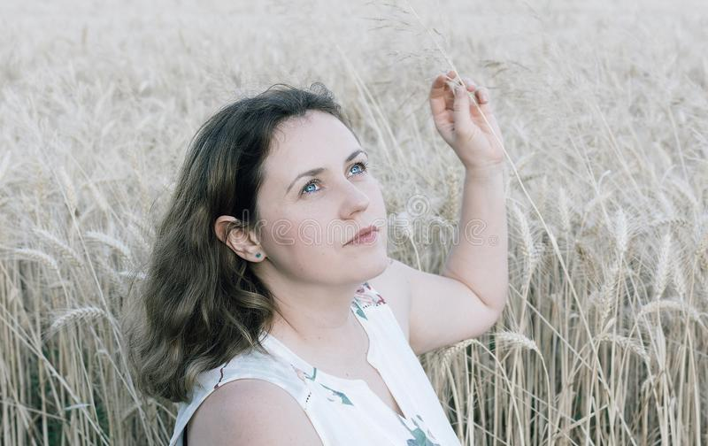 Woman in wheat field background stock photography