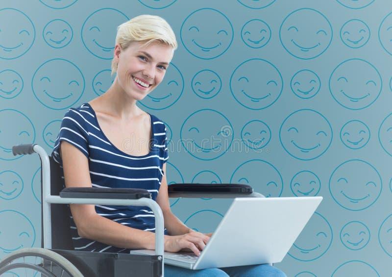 Woman in wheelchair against blue emoji pattern. Digital composite of Woman in wheelchair against blue emoji pattern stock image