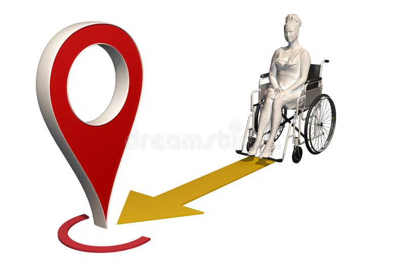 Woman in wheelchair moves to map pin vector illustration