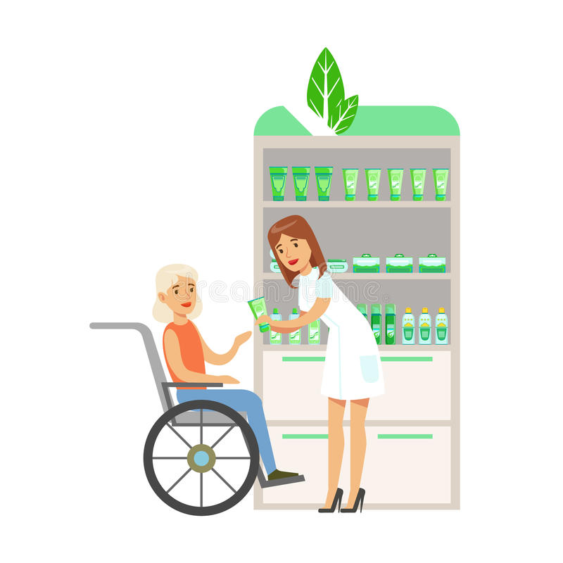 Woman In Wheelchair In Pharmacy Choosing And Buying Drugs And Cosmetics, Part Of Set Of Drugstore Scenes With stock illustration
