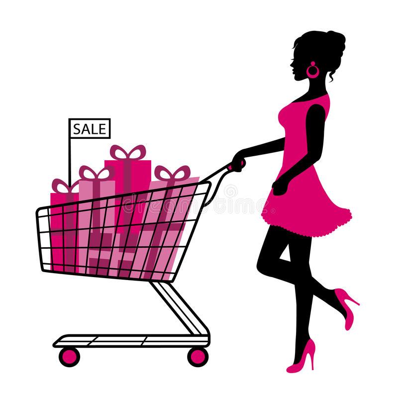 Woman wheels a cart with gifts and shopping. Silhouette woman rolls cart with gifts and shopping on a white background royalty free illustration