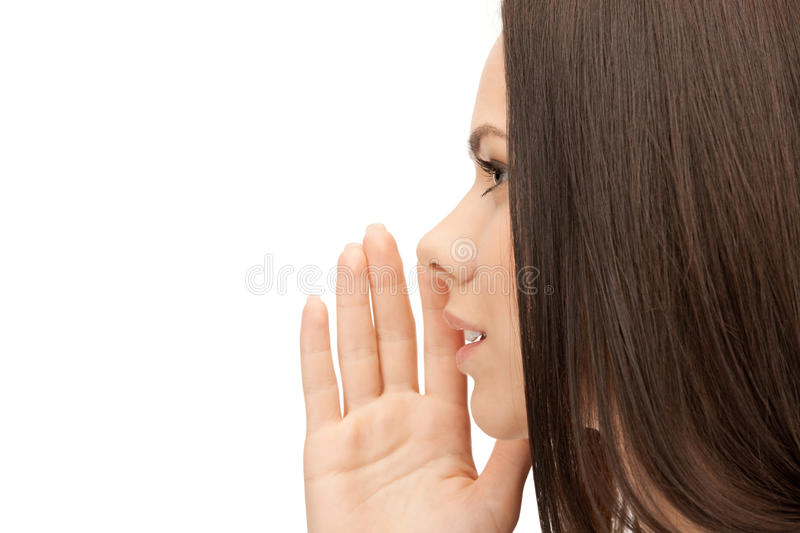Woman whispering gossip royalty free stock photography