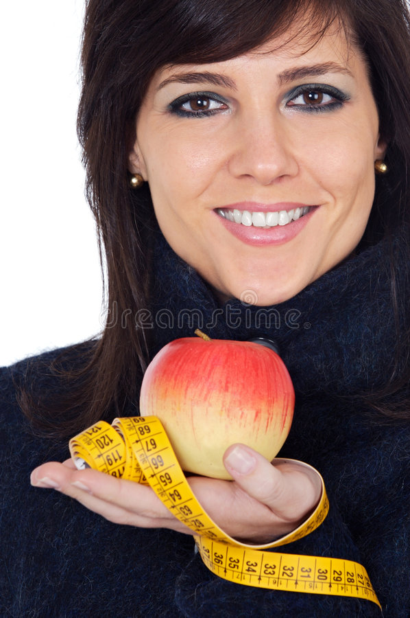 Download Woman Whit Apple And Measuring Tape Stock Image - Image: 5119691