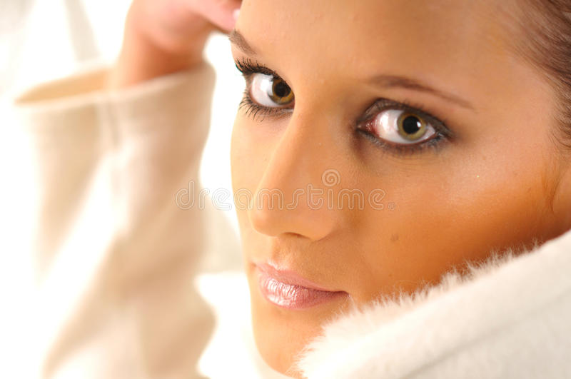Download The woman in white stock image. Image of gray, white - 15499005
