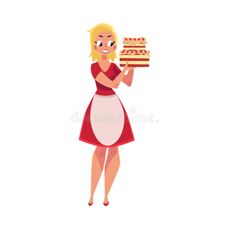 Woman, in white apron holding layered birthday cake in hands vector illustration