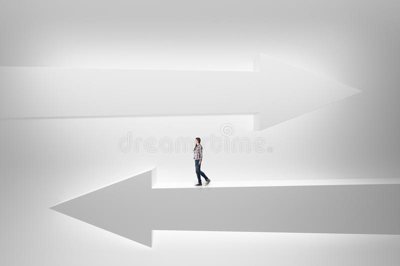 Woman on white arrows royalty free stock images