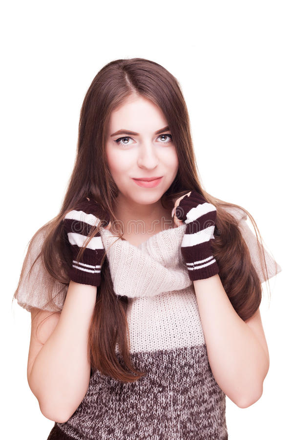 Woman on white background in fingerless gloves. Studio photos. Winter theme. Cozy clothes and worm feelings stock images