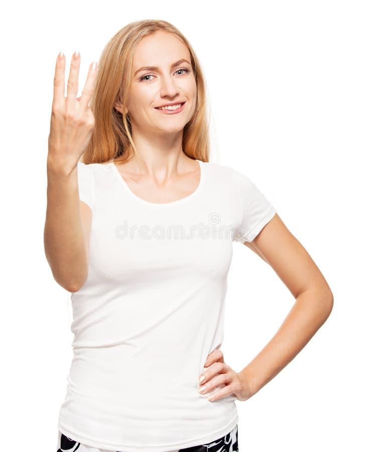 Woman at white background stock photos