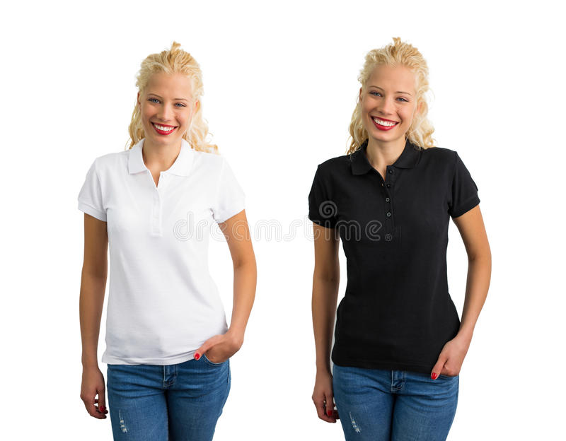 Woman in white and black polo shirt. Collage royalty free stock photography