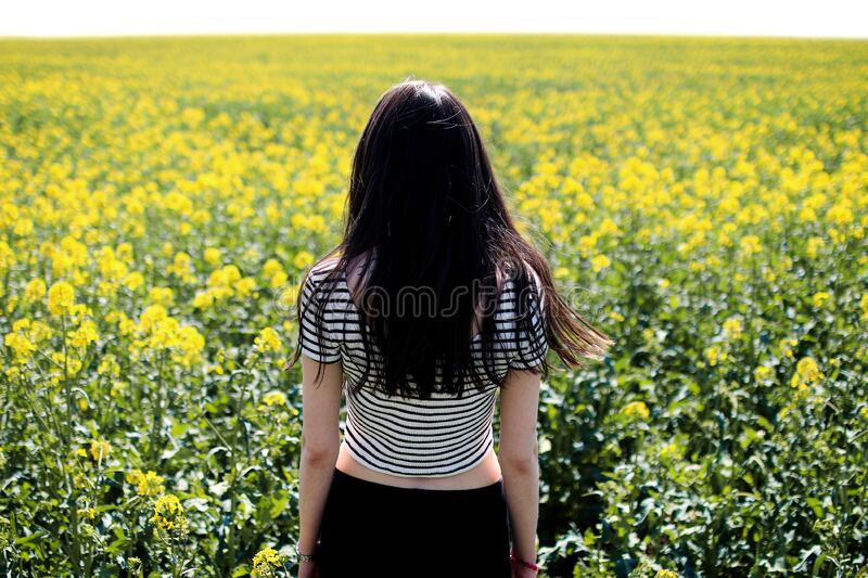 Woman In White And Black Striped Crop Top Facing Field Of Free Public Domain Cc0 Image
