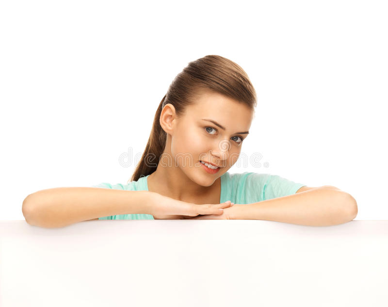 Woman with white blank board. Happy smiling woman with white blank board stock image