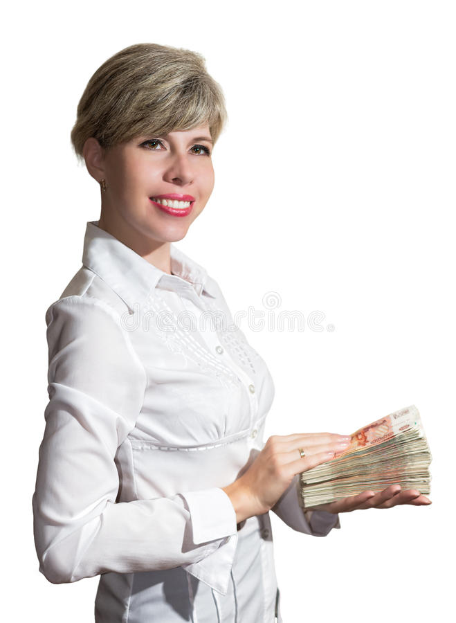 Woman in white blouse holding a wad of money royalty free stock photo
