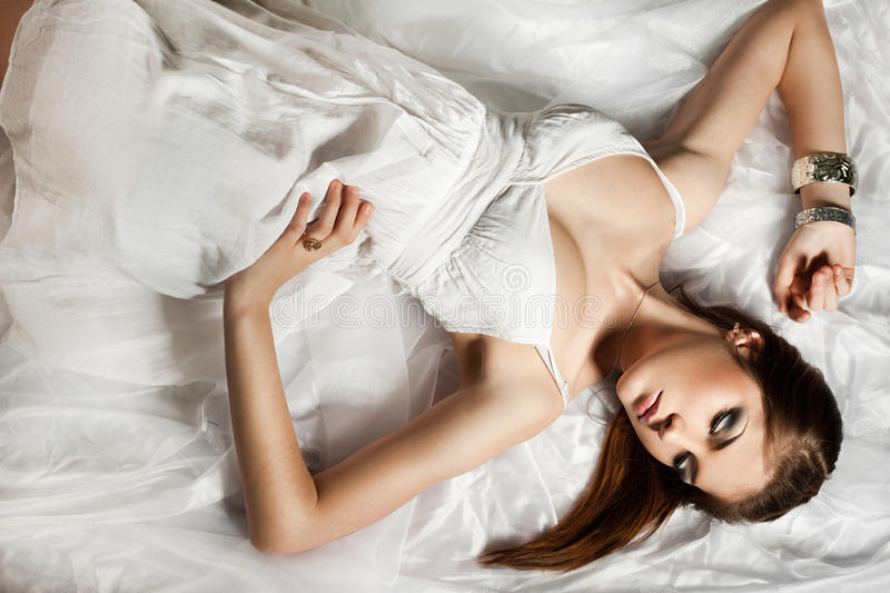 Download Woman in white cloth stock photo. Image of brunette, female - 22347726