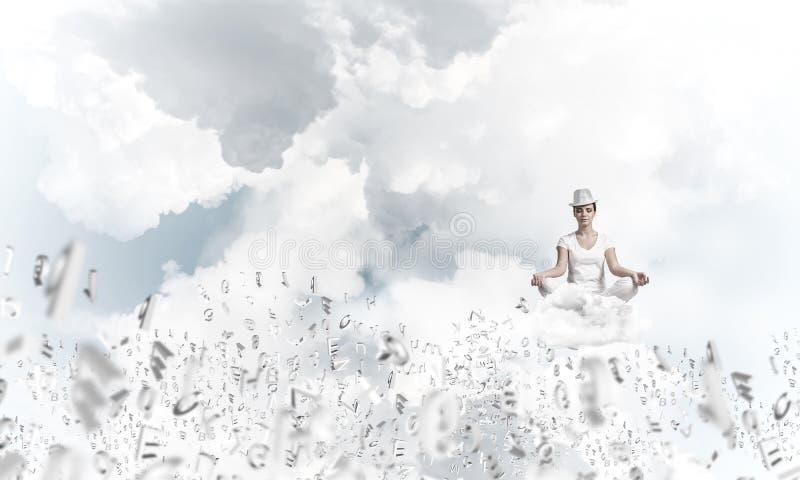 Young woman keeping mind conscious. stock image