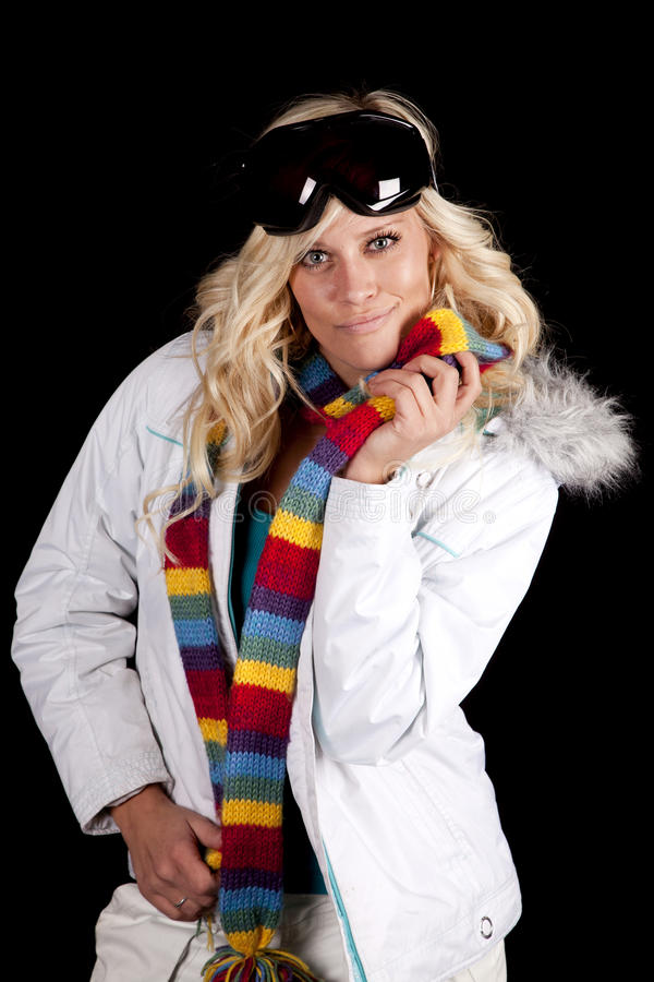Woman white coat hold scarf