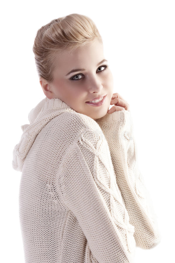 Woman With White Comfortable Sweater Royalty Free Stock Images