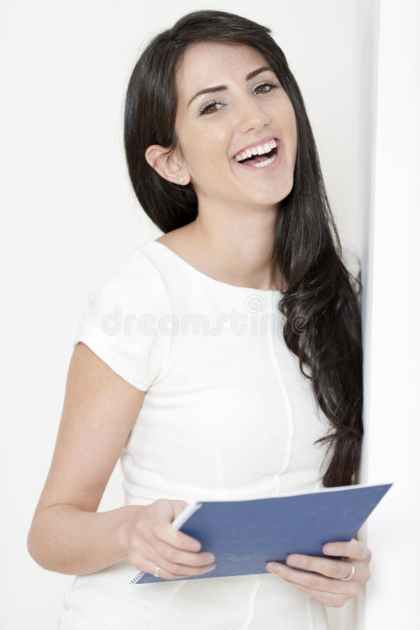 Download Woman With White Dress Holding Documents Stock Photo - Image: 25152042