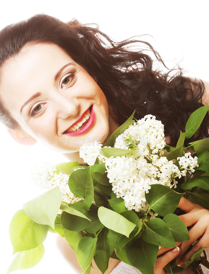 Woman With White Flowers Stock Photo