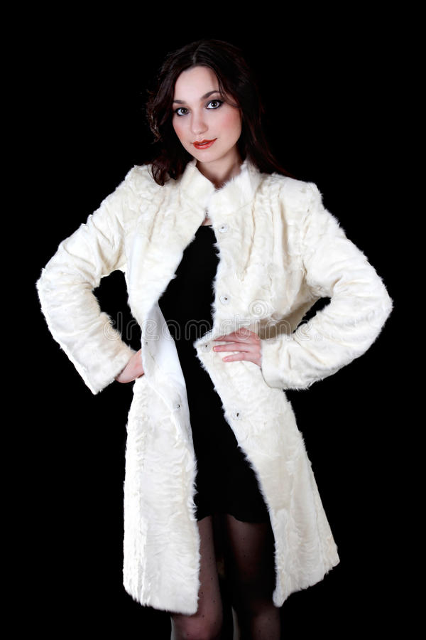 Woman In White Fur Coat Stock Image