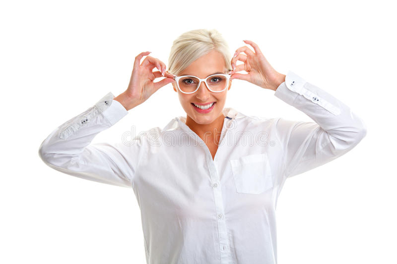 Woman in white glasses. Head and shoulders royalty free stock images