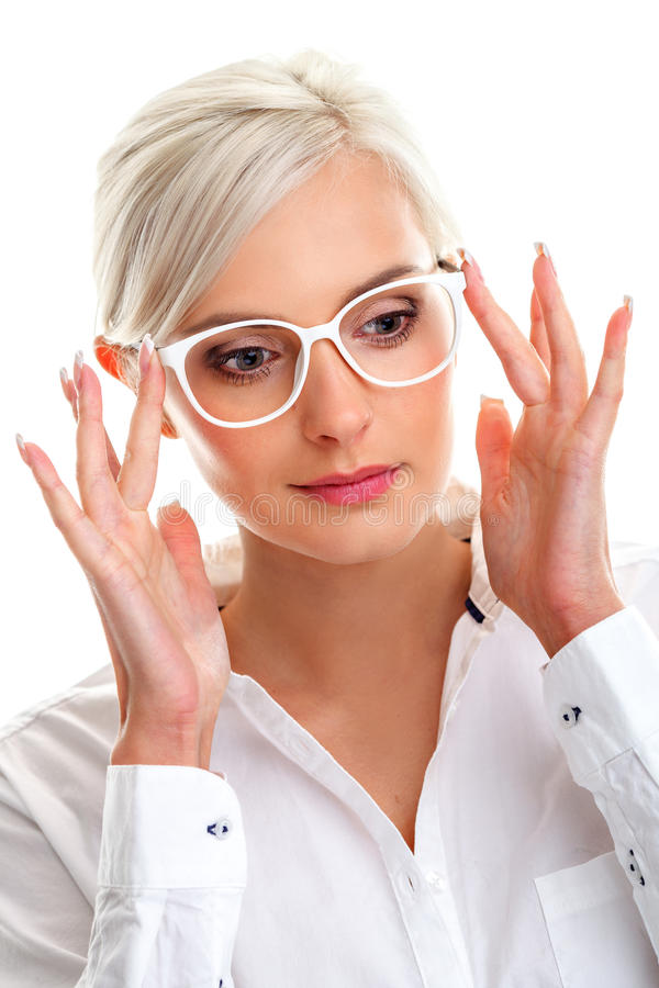 Woman in white glasses. Head and shoulders stock image