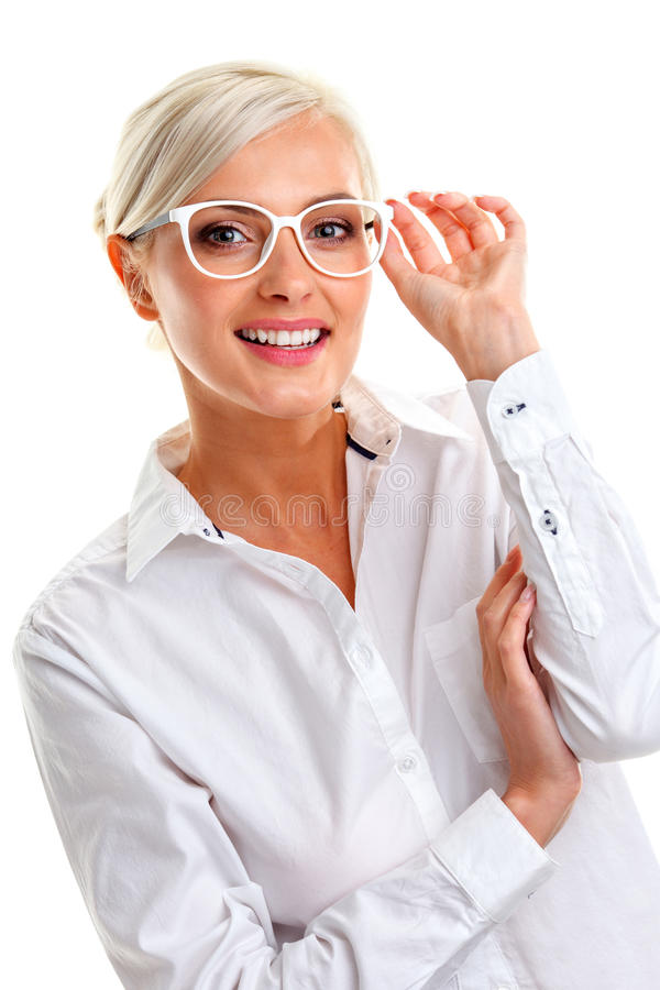 Woman in white glasses. Head and shoulders stock photos