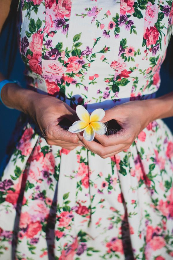 Woman in White and Green Floral Dress Holding Flower royalty free stock photography