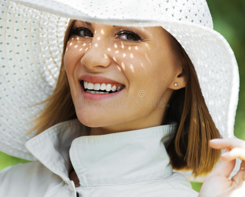 Download Woman White Hat Royalty Free Stock Images - Image: 21371009