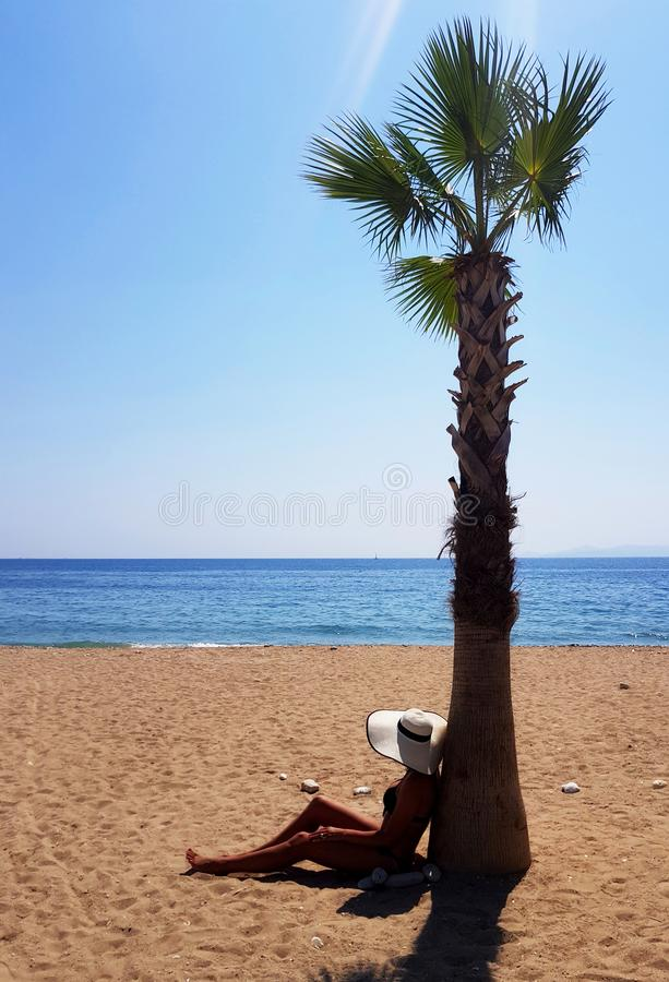 A woman in white hat sitting under palm tree at the beach stock images