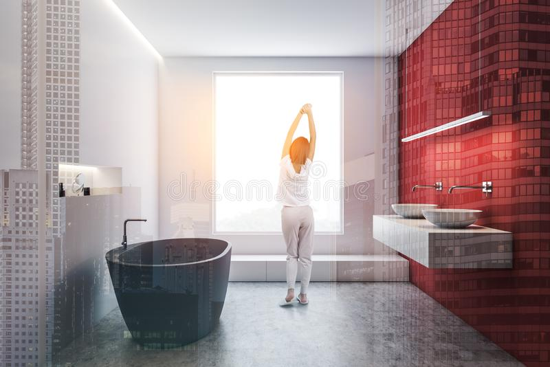 Woman in white and red bathroom interior royalty free stock images
