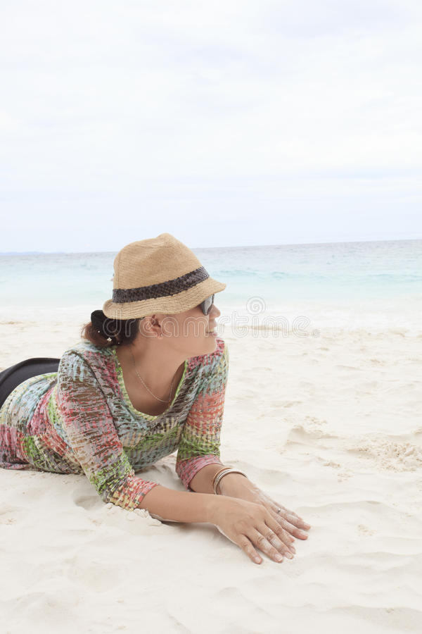 Download Woman On White Sand Beach With Relax Emotion Stock Photo - Image: 30488118