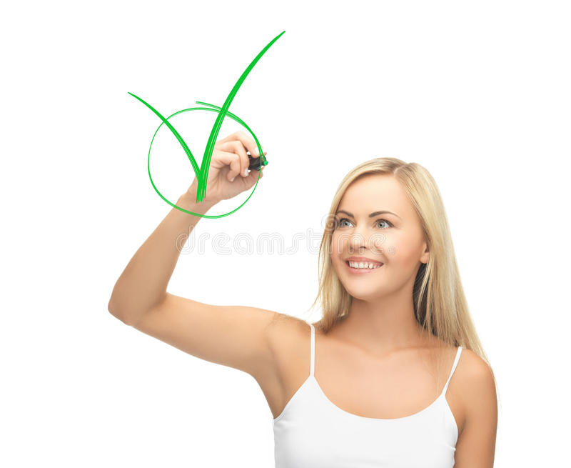 Download Woman In White Shirt Drawing Green Checkmark Stock Image - Image: 38096973