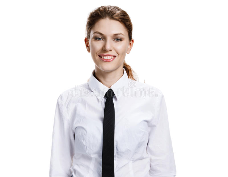 Woman in a white shirt and tie. Studio photo of the girl toothy smiling - isolated on white background stock photos