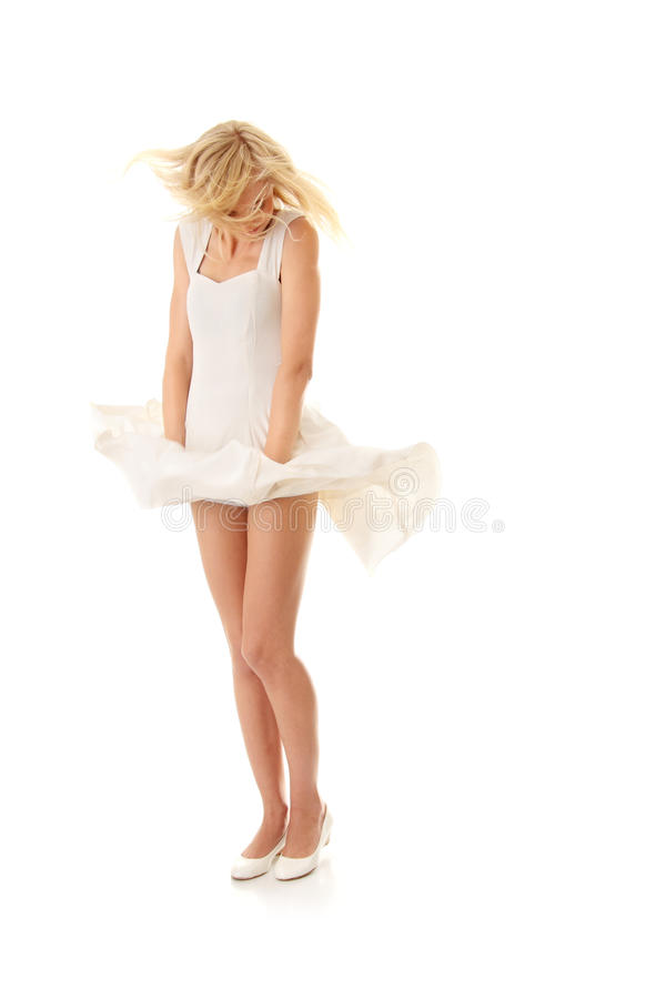 Woman in white skirt stock photography