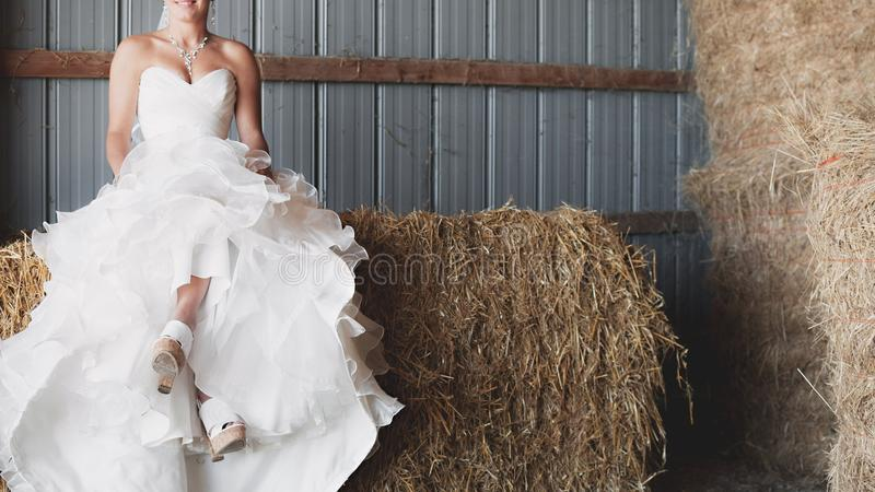 Woman in White Strapless Sweetheart Neckline Bridal Gown Sitting of Brown Hay royalty free stock images