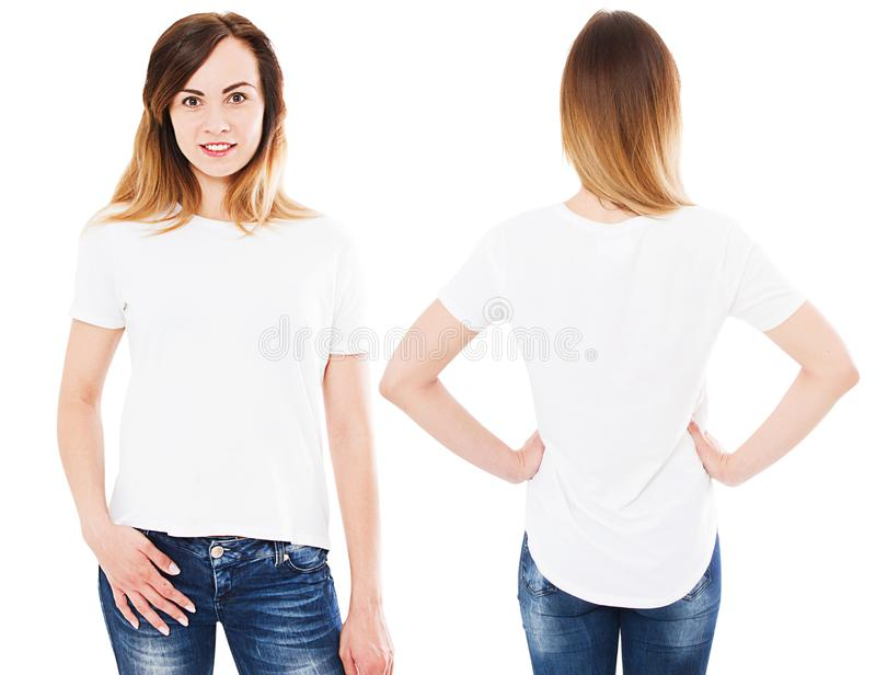 Woman white t-shirt set isolated on white stock photos