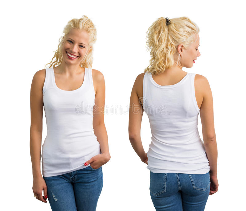 Woman in white tank top. Front and back view royalty free stock images