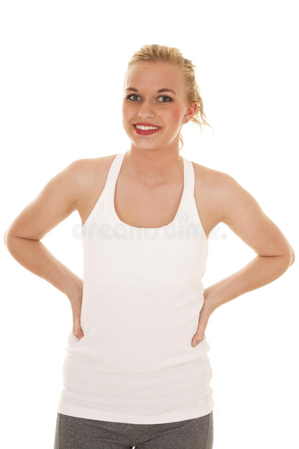 Woman white tank top and smiling stock photos