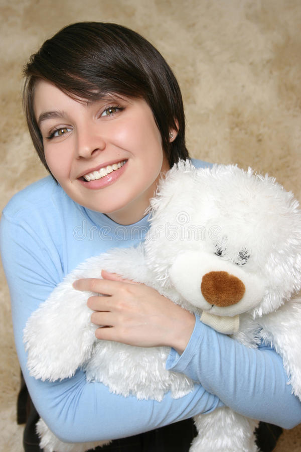 Woman With White Teddy Bear Royalty Free Stock Photos