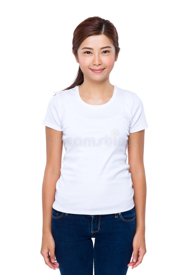 Woman with white tee royalty free stock photography