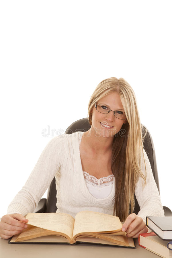 Woman White Top Books Happy Royalty Free Stock Image