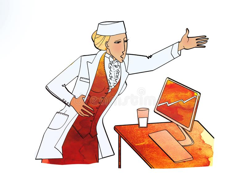 Woman in white uniform over a business suit Standing near a desktop with a monitor. Appeal, leadership, reports scolds. Subordinates. Pharmacy, medical clinic royalty free illustration
