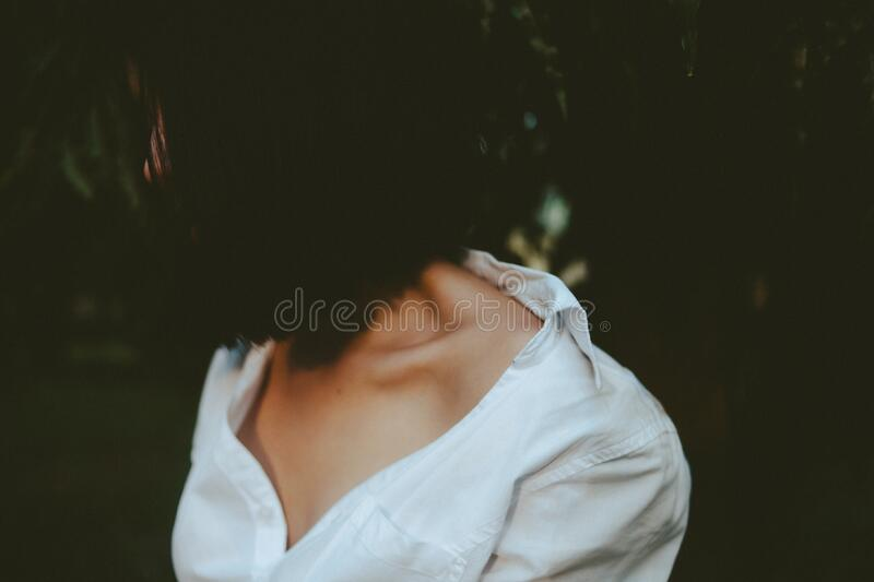 Woman in White V-neck Shirt royalty free stock photo