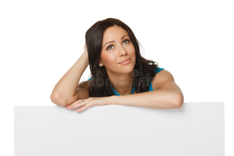 Woman with whiteboard looking up royalty free stock images