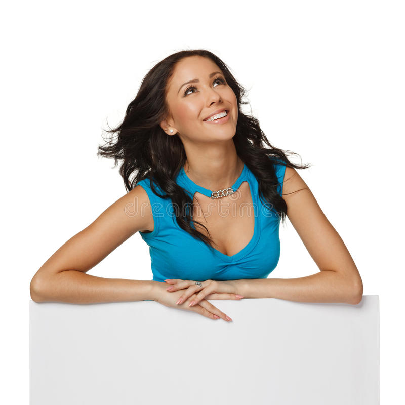 Woman With Whiteboard Looking Up Stock Photography
