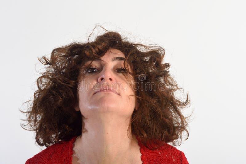 Woman who disheveled,. Woman who disheveled on white royalty free stock image