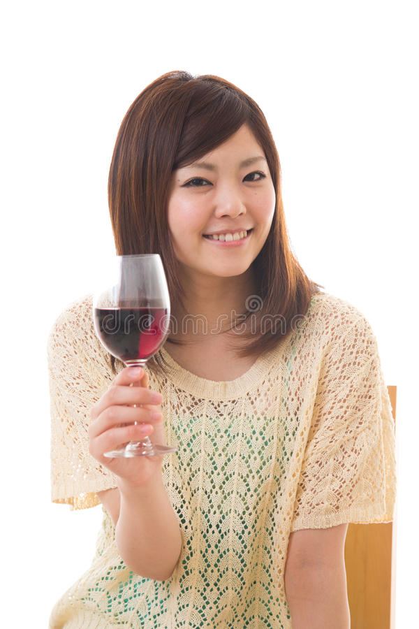 Download The woman who drinks wine stock photo. Image of spirited - 25444422