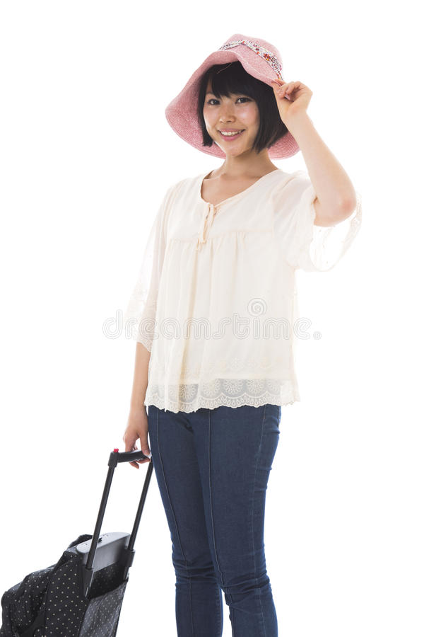 Download Woman who goes for a trip stock image. Image of smile - 26488853
