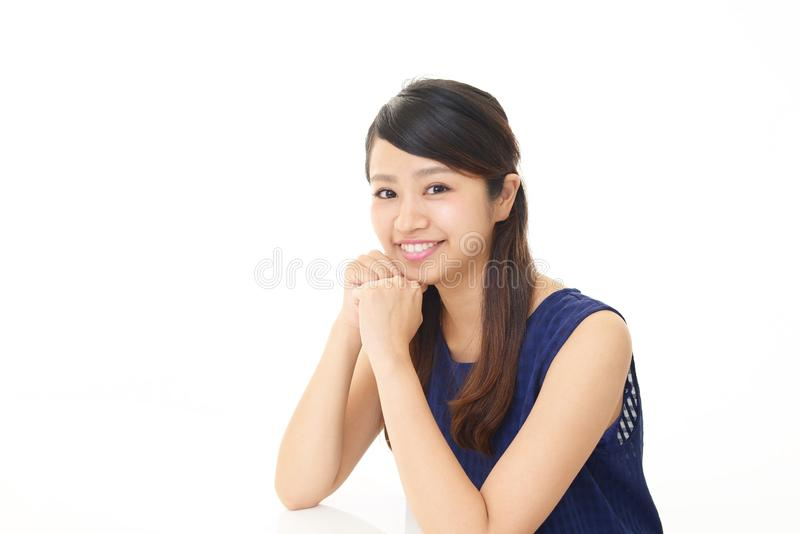 Woman who is relaxed. Portrait of an Asian woman stock photography